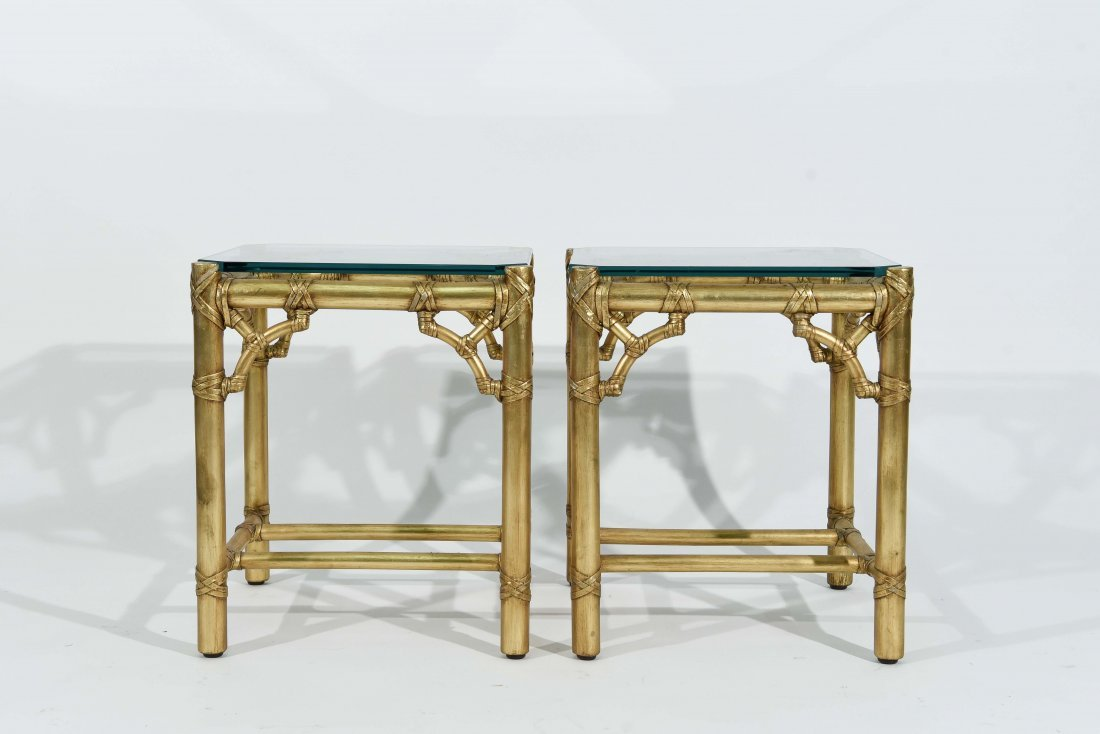 PAIR OF GOLD FAUX BAMBOY END TABLES