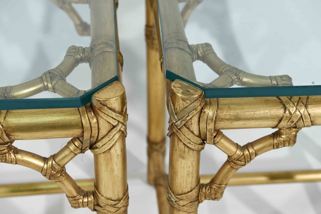 PAIR OF GOLD FAUX BAMBOY END TABLES - 3