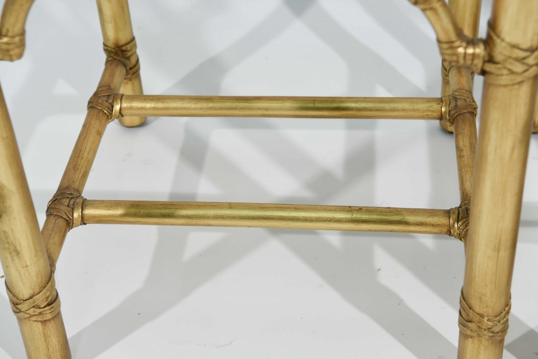 PAIR OF GOLD FAUX BAMBOY END TABLES - 4