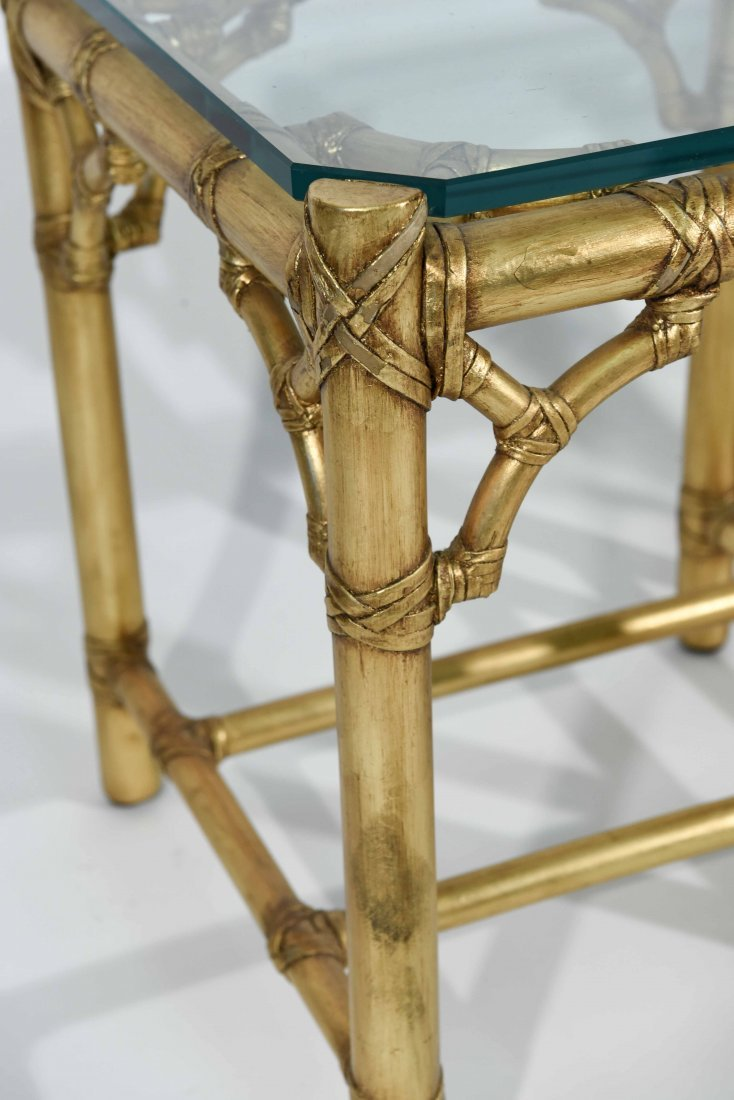 PAIR OF GOLD FAUX BAMBOY END TABLES - 5