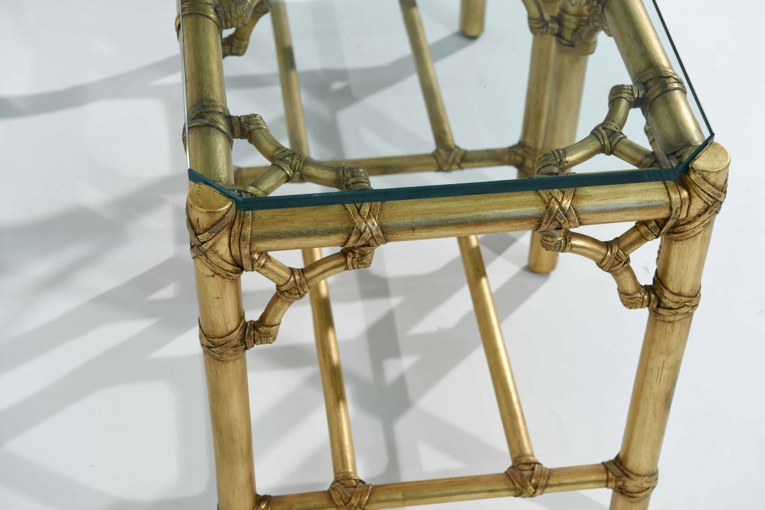 PAIR OF GOLD FAUX BAMBOY END TABLES - 6