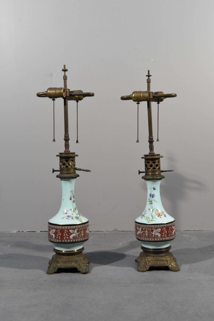 (2) ANTIQUE ELECTRIFIED CERAMIC OIL LAMPS