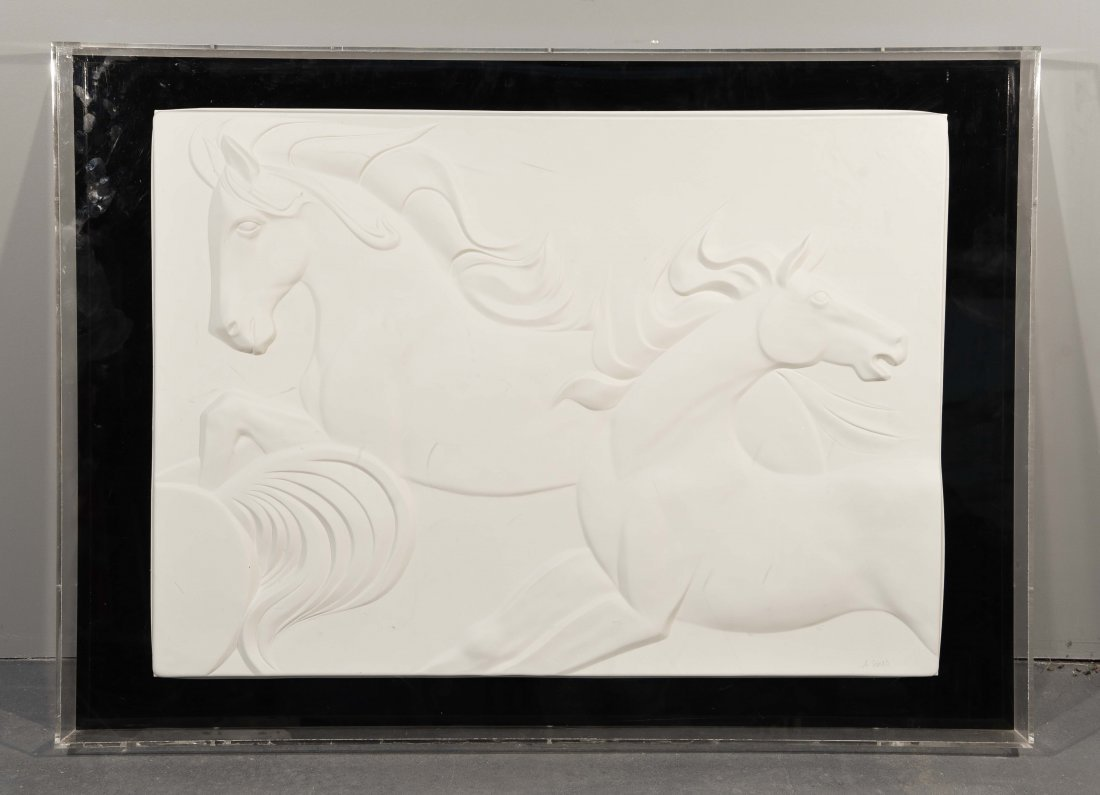 A. SOMBRAS BAS RELIEF WITH WILD HORSES