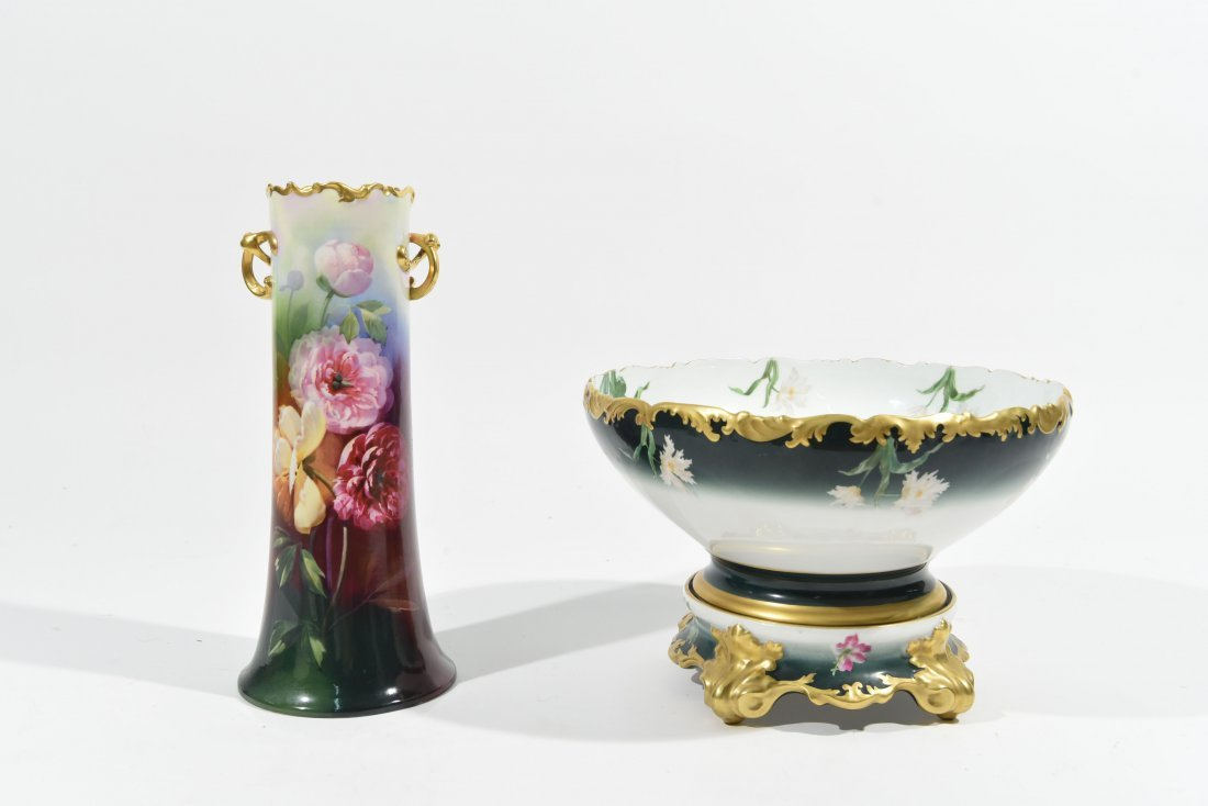 LARGE LIMOGES VASE AND PUNCH BOWL & STAND