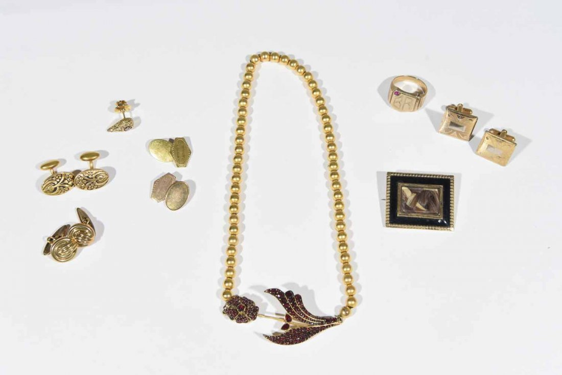 GOLD JEWELRY GROUPING INCL GARNET NECKLACE