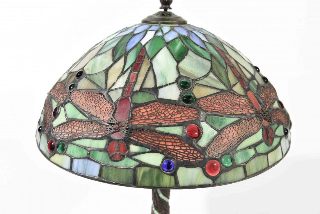 LATE 20TH C. STAINED GLASS LAMP - 3