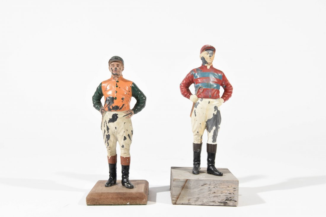 TWO PAINTED METAL JOCKEYS