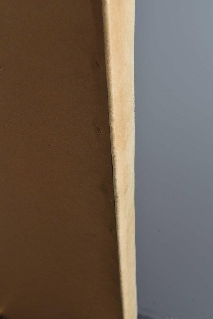 MID-CENTURY BRASS BENCH W/ CARAMEL UPHOLSTERY - 8