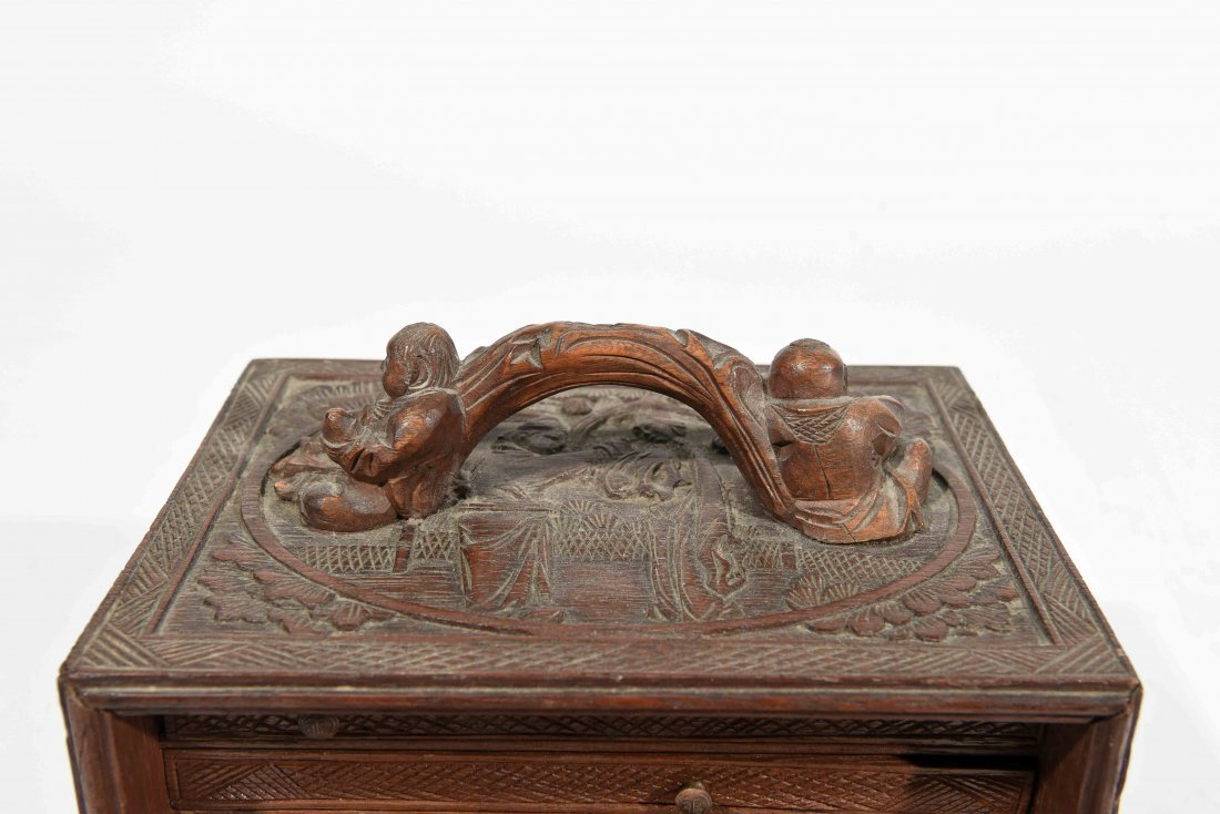 CHINESE CARVED SMALL CHEST OF DRAWERS - 4