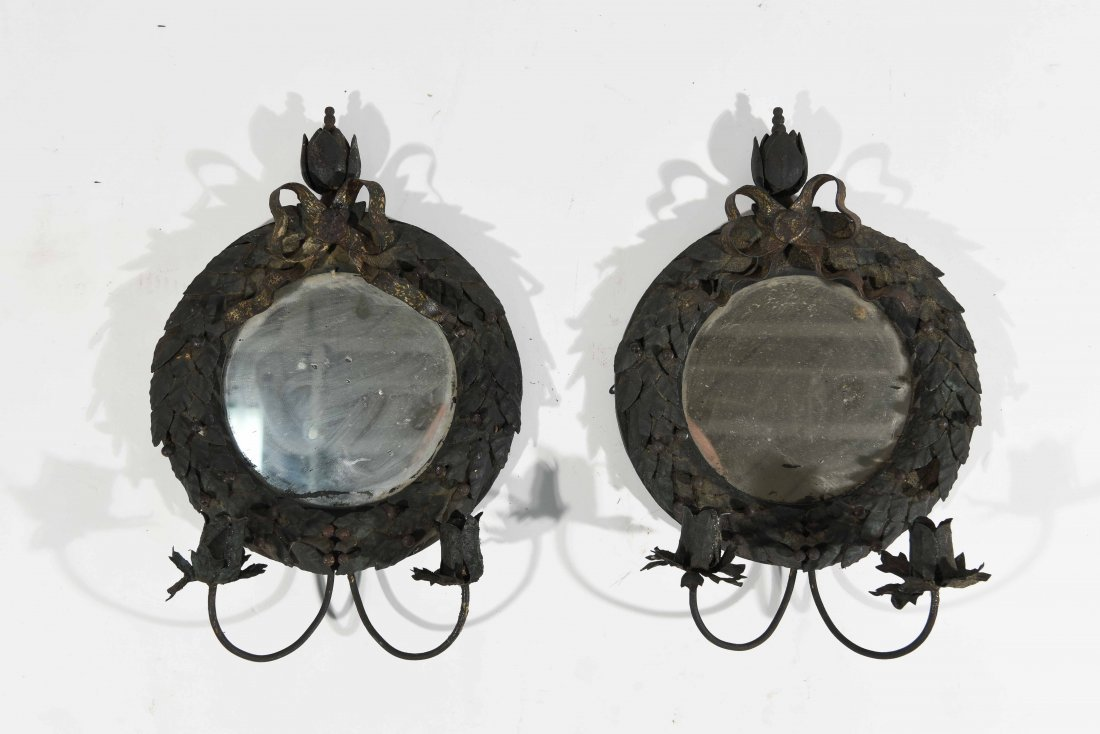 19TH C. MIRRORED WALL SCONCES