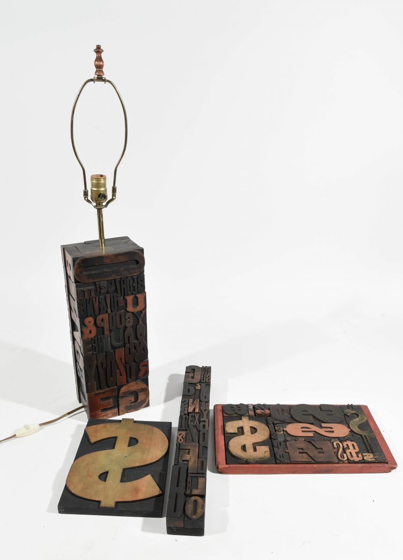 VINTAGE TYPE SCULPTURE AND LAMP