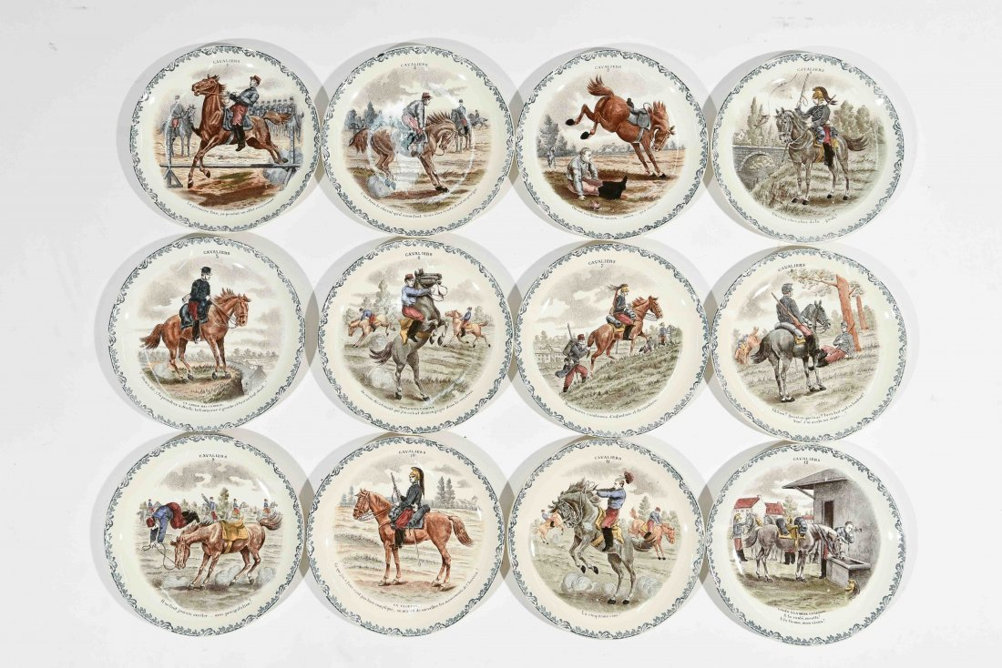 FRENCH PORCELAIN CAVALIERS HORSE PLATES