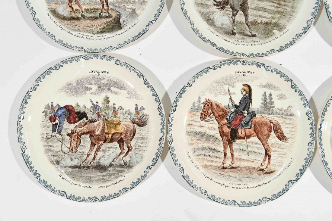 FRENCH PORCELAIN CAVALIERS HORSE PLATES - 2