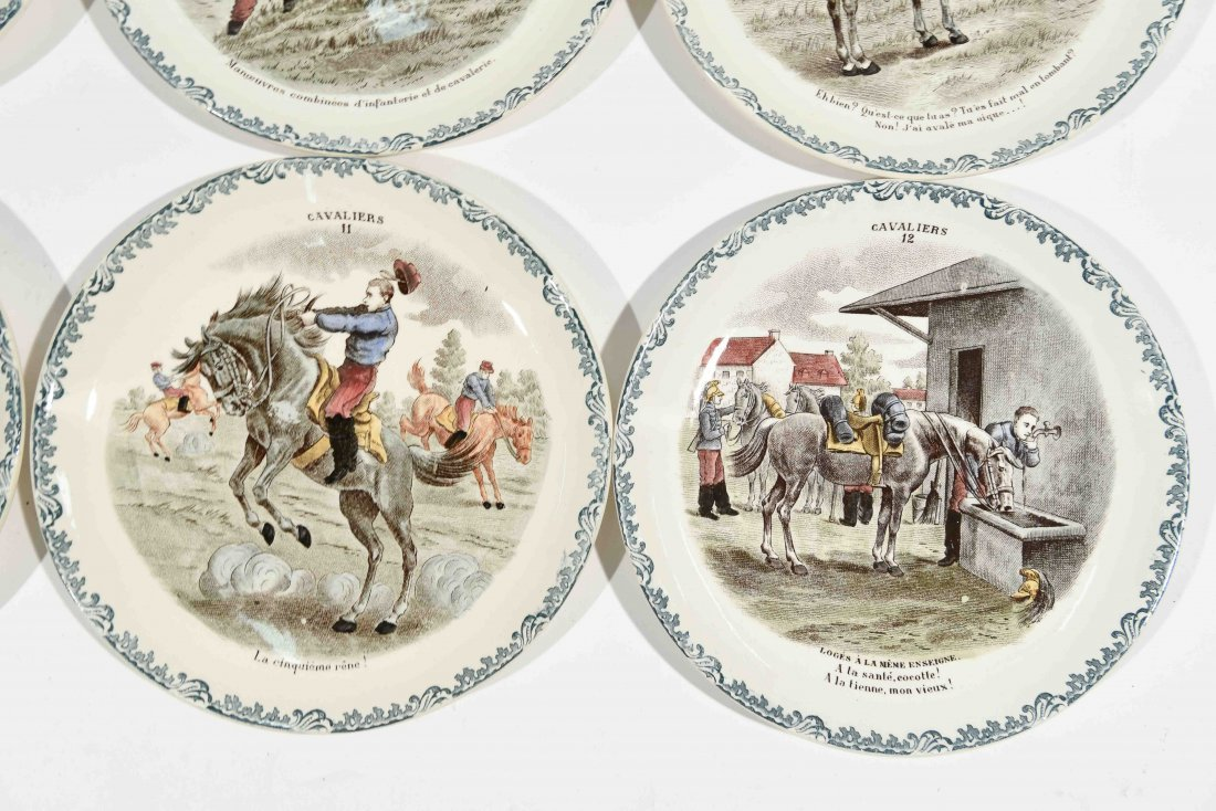 FRENCH PORCELAIN CAVALIERS HORSE PLATES - 3