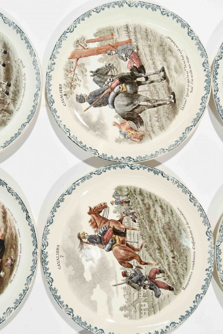 FRENCH PORCELAIN CAVALIERS HORSE PLATES - 4