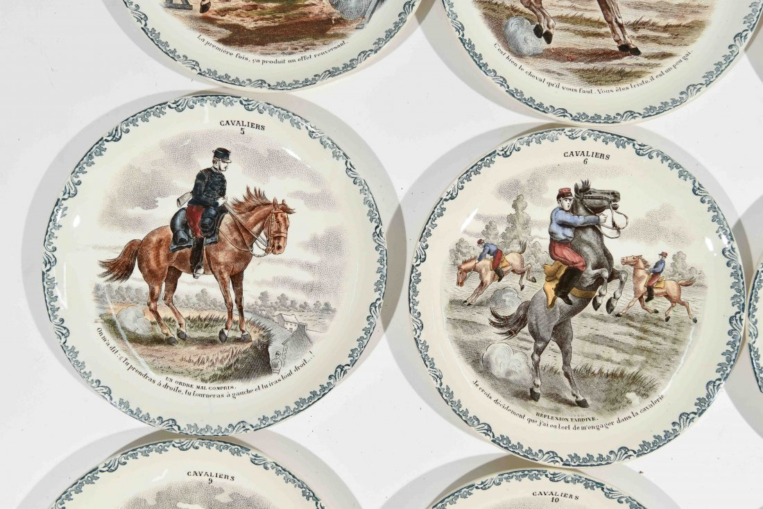 FRENCH PORCELAIN CAVALIERS HORSE PLATES - 5
