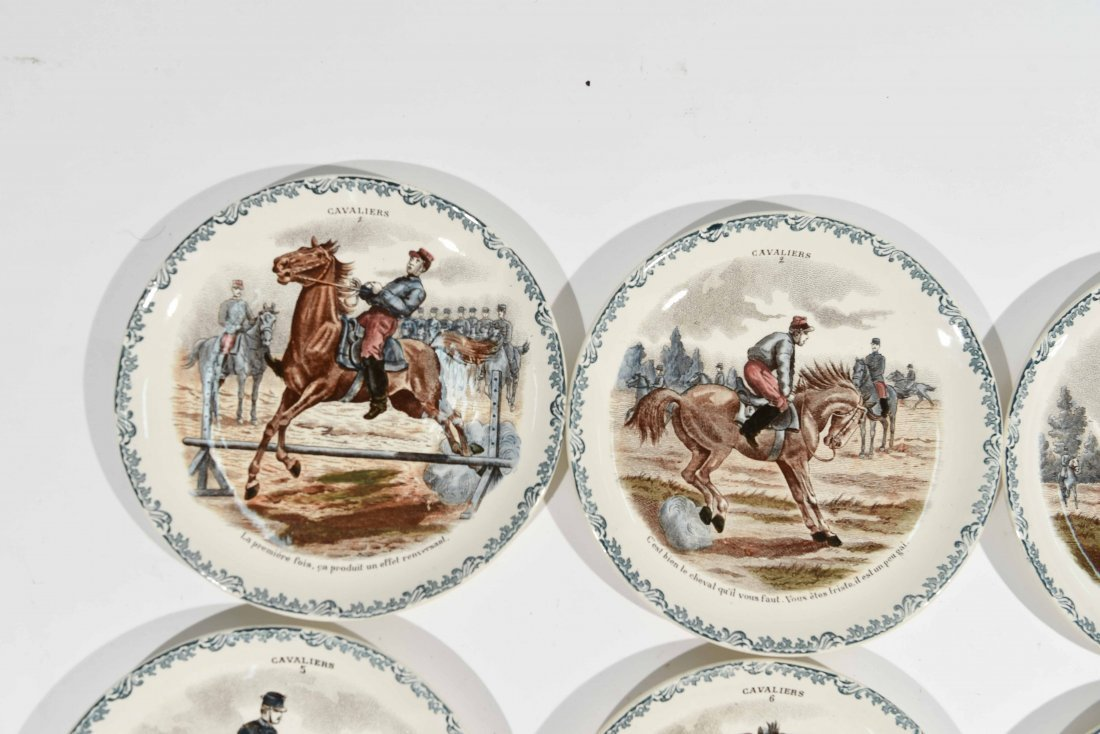 FRENCH PORCELAIN CAVALIERS HORSE PLATES - 6