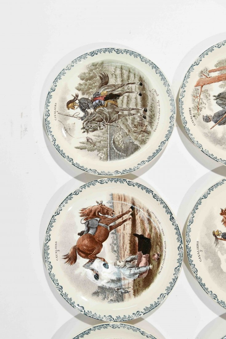 FRENCH PORCELAIN CAVALIERS HORSE PLATES - 7