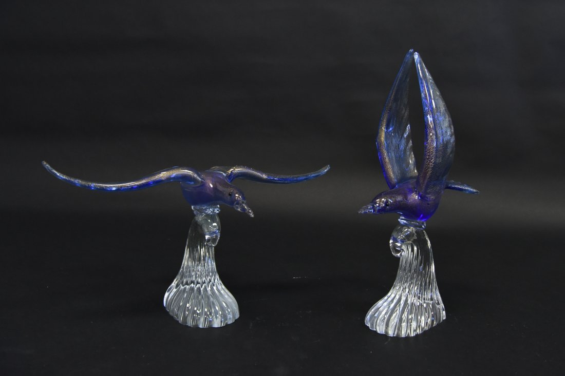 (2) MURANO GLASS SEAGULLS