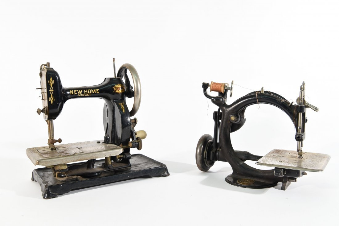 TWO MINIATURE SEWING MACHINES