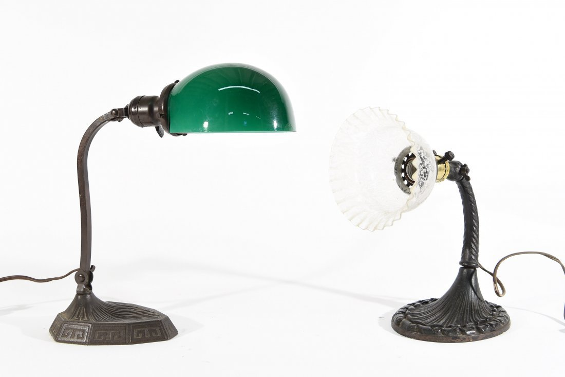 TWO ARTICULATING DESK LAMPS