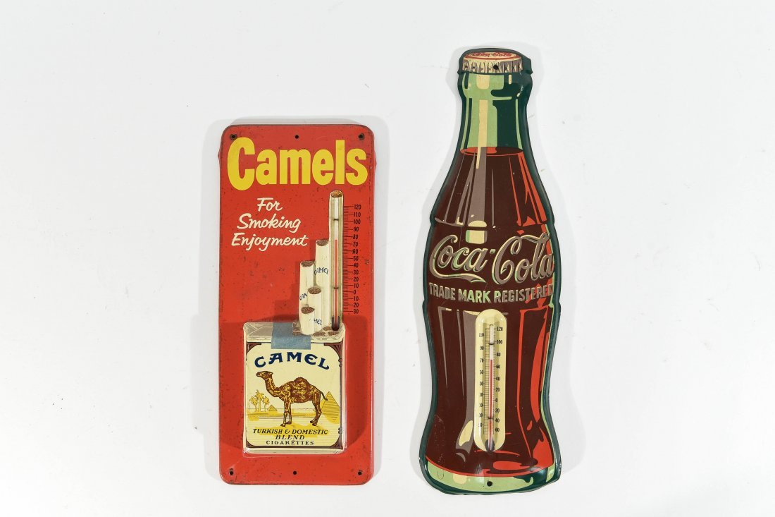VINTAGE CAMEL AND COCA COLA THERMOMETERS