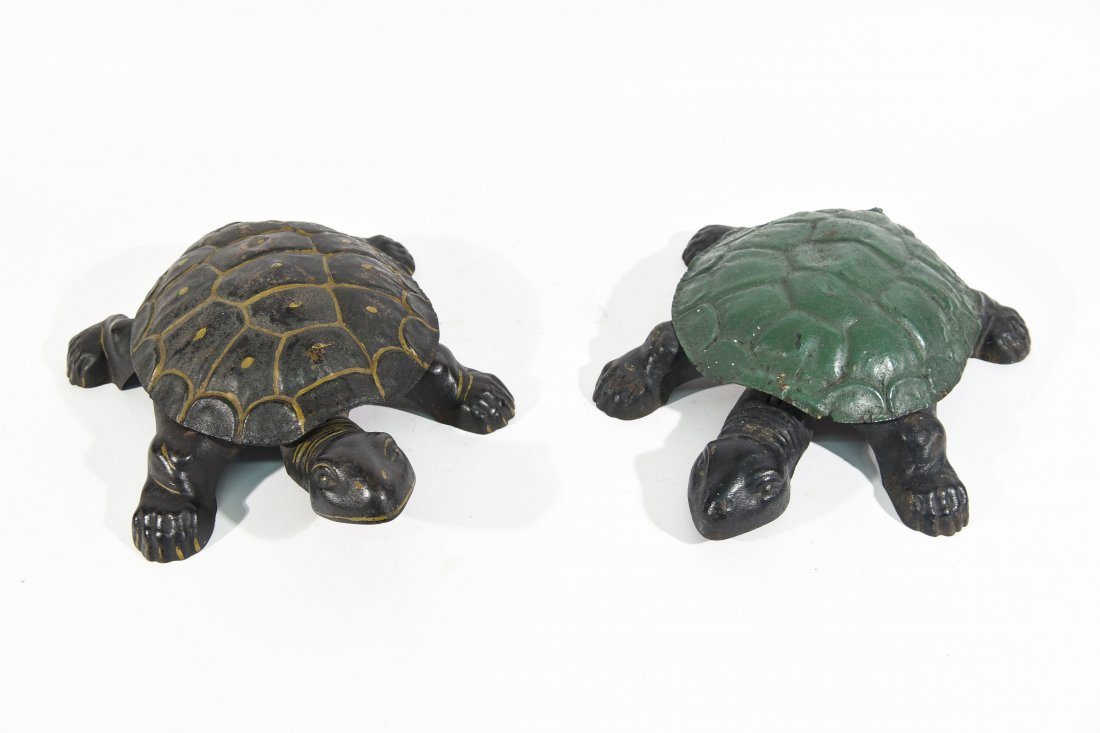 TWO ANTIQUE TURTLE SPITTOONS