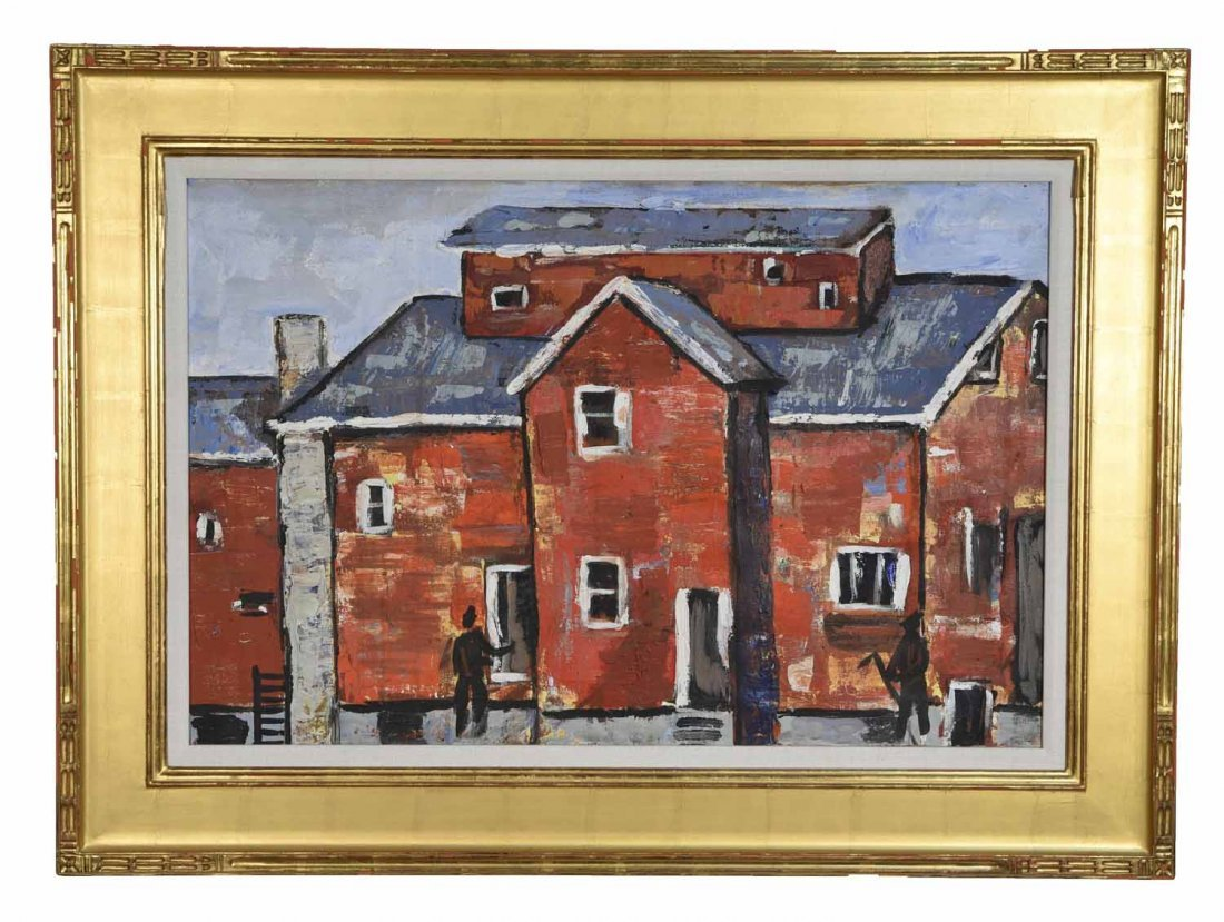 20TH CENTURY ARTIST. RED BUILING,O/C