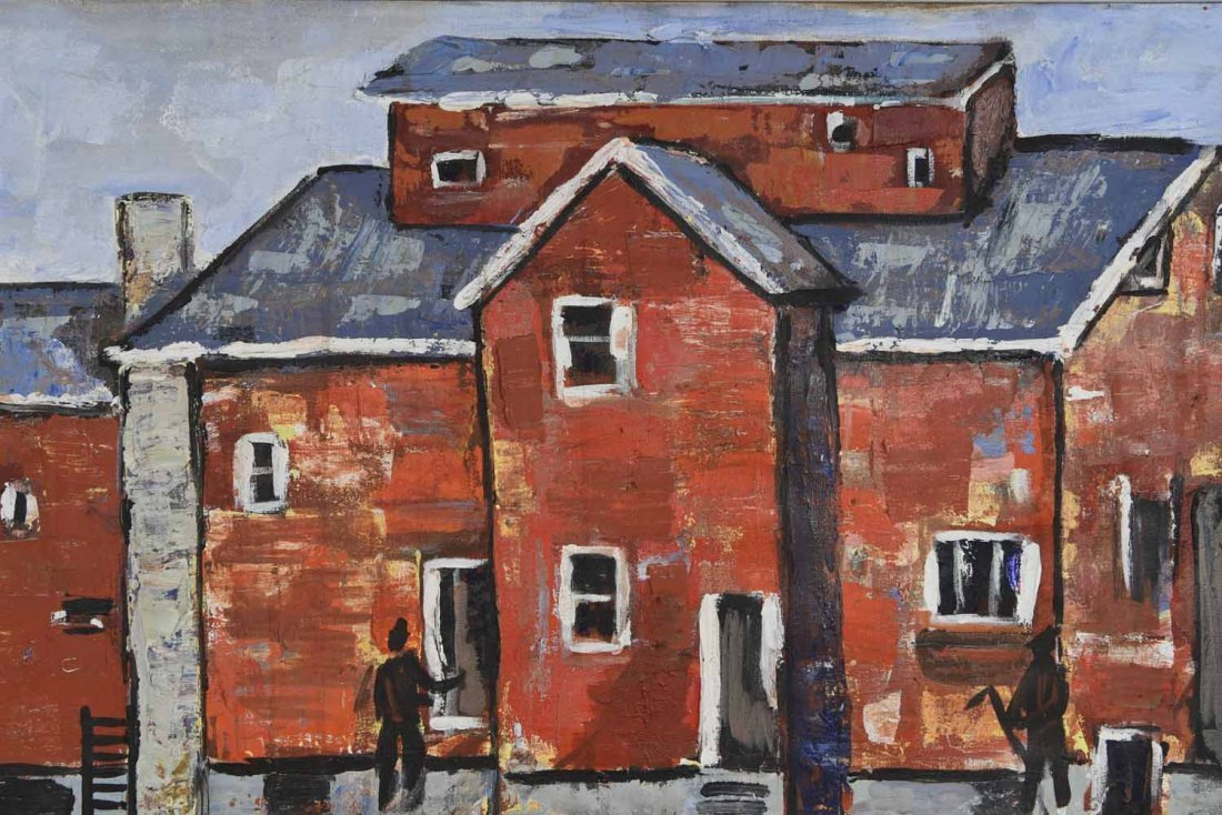 20TH CENTURY ARTIST. RED BUILING,O/C - 2