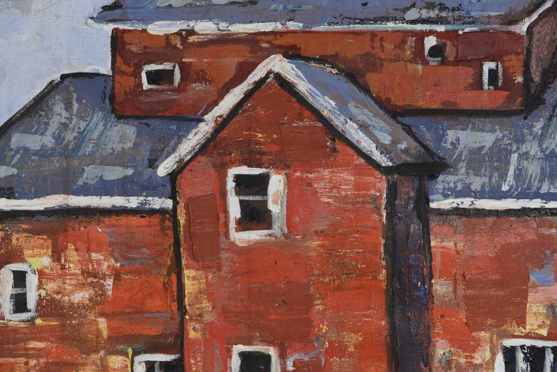 20TH CENTURY ARTIST. RED BUILING,O/C - 3
