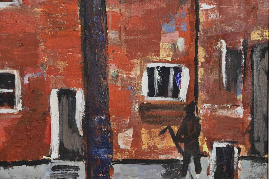 20TH CENTURY ARTIST. RED BUILING,O/C - 4