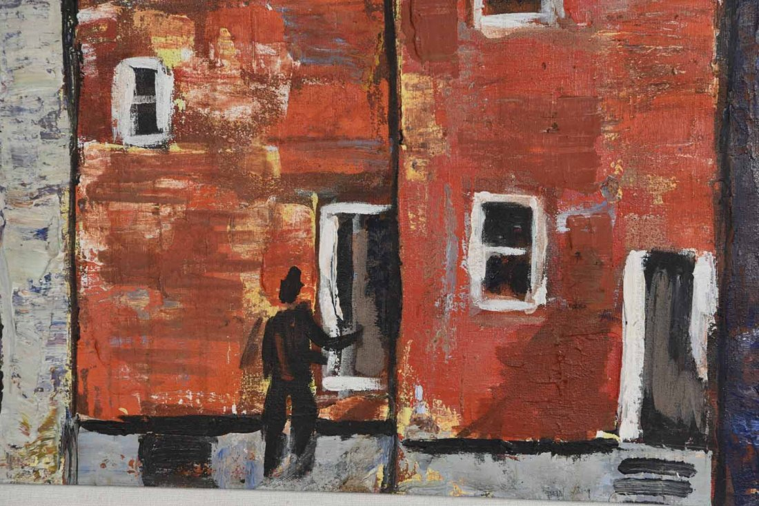 20TH CENTURY ARTIST. RED BUILING,O/C - 5