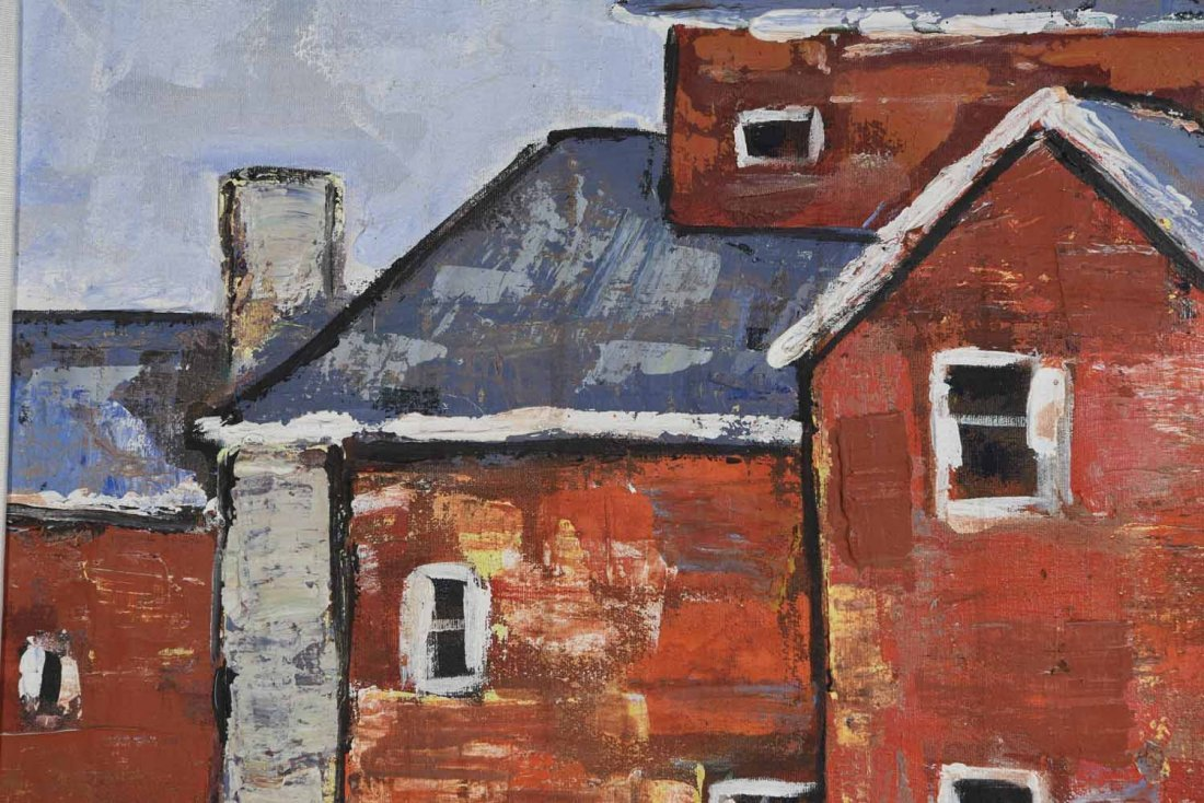 20TH CENTURY ARTIST. RED BUILING,O/C - 6