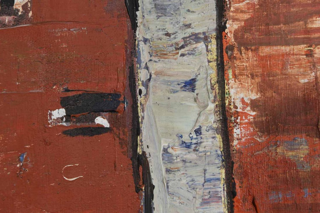 20TH CENTURY ARTIST. RED BUILING,O/C - 7