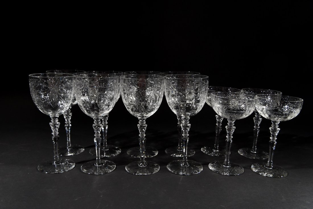 AMERICAN CRYSTAL CHAMPAGNE COUPES & WATER
