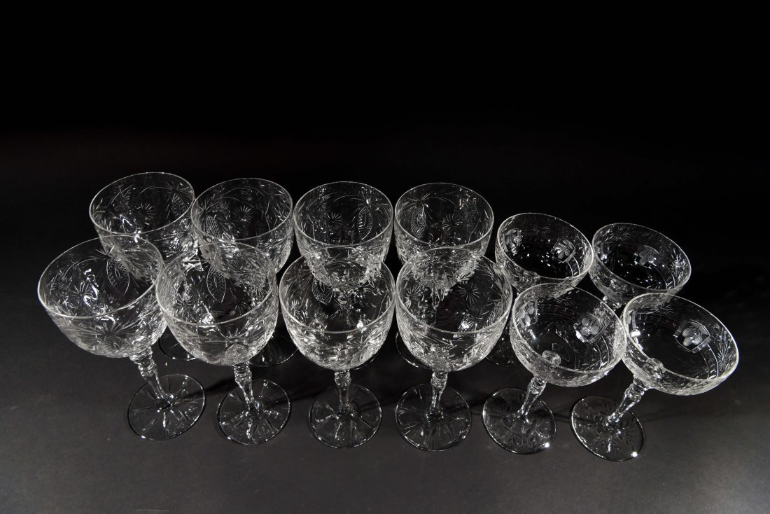 AMERICAN CRYSTAL CHAMPAGNE COUPES & WATER - 6