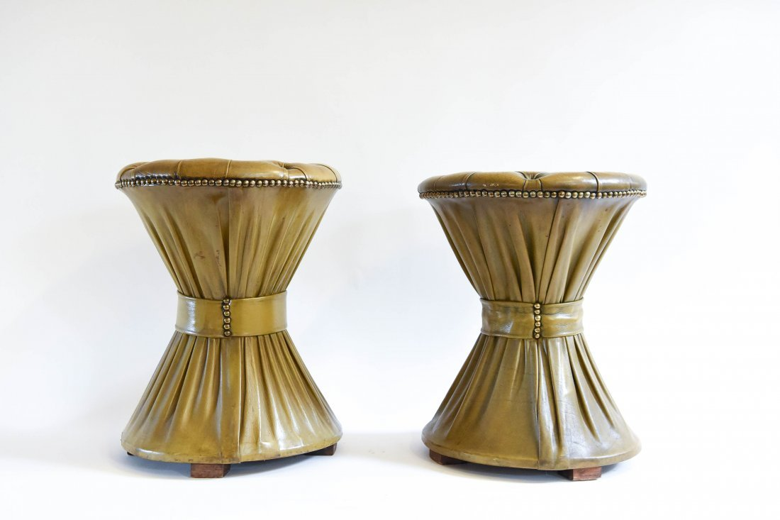 PLEATED & TUFTED LEATHER HOURGLASS OTTOMANS