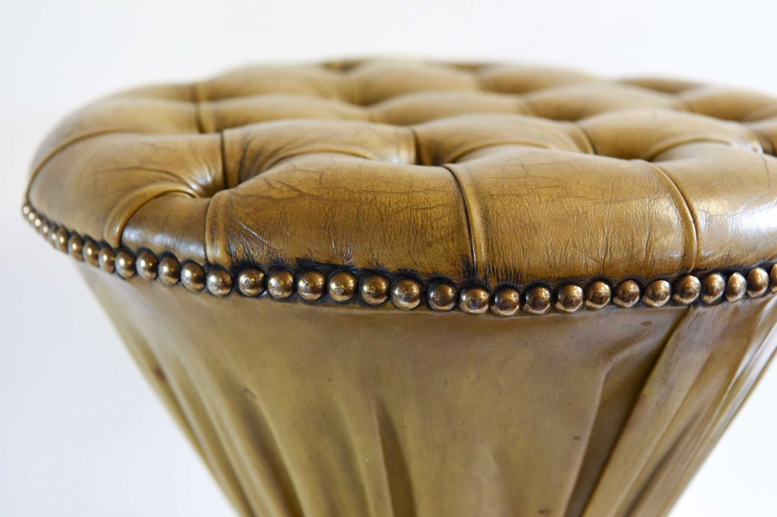 PLEATED & TUFTED LEATHER HOURGLASS OTTOMANS - 2