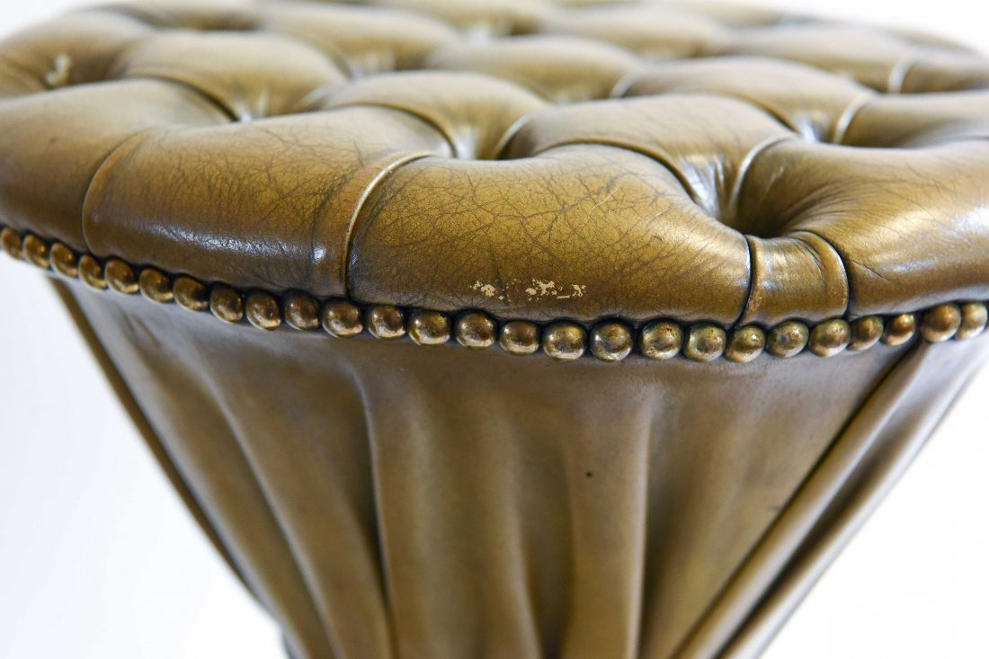 PLEATED & TUFTED LEATHER HOURGLASS OTTOMANS - 5