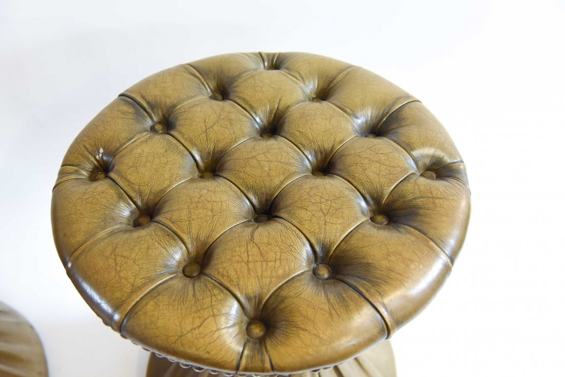 PLEATED & TUFTED LEATHER HOURGLASS OTTOMANS - 6