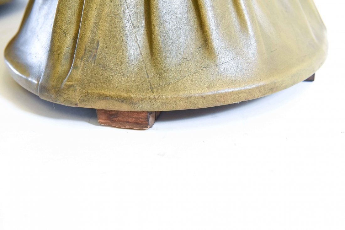PLEATED & TUFTED LEATHER HOURGLASS OTTOMANS - 8
