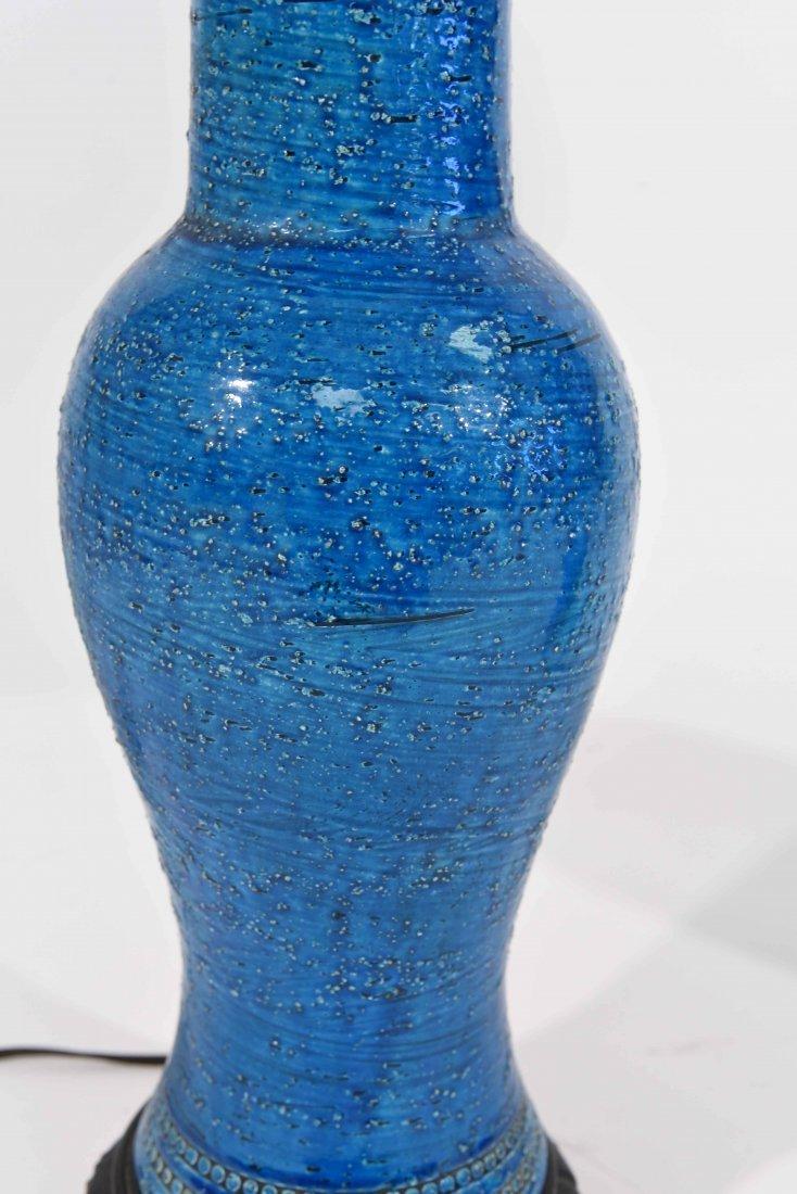 PAIR OF ITALIAN BITOSSI BLUE CERAMIC TABLE LAMPS - 4