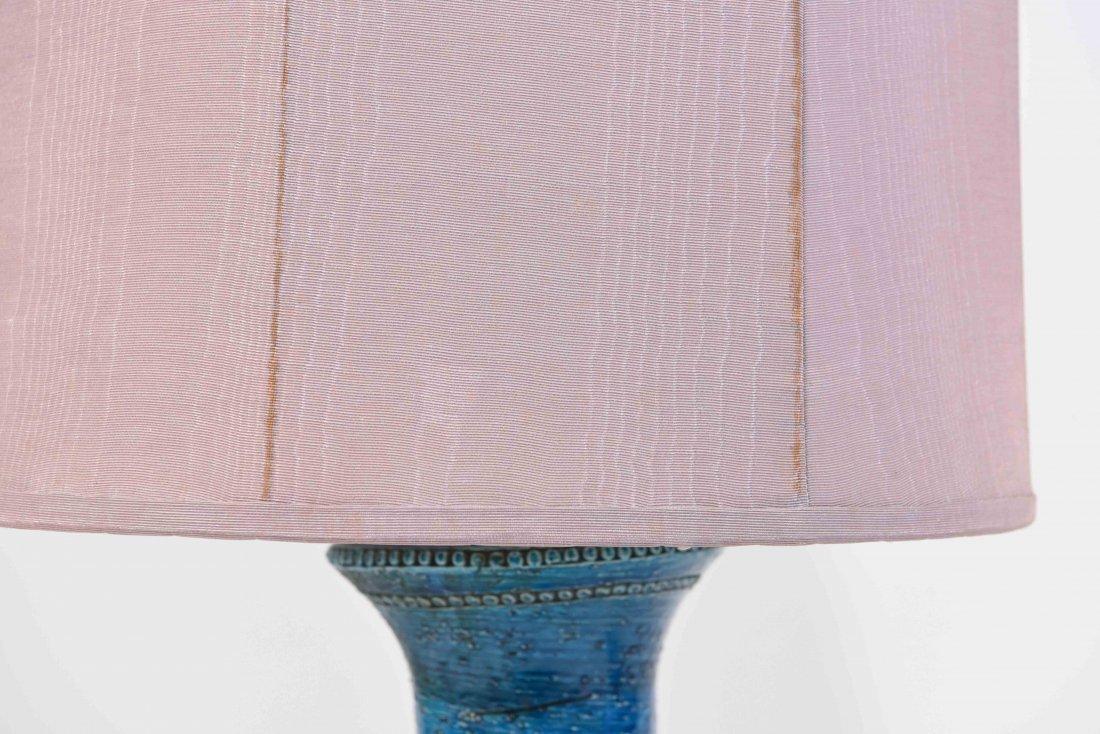 PAIR OF ITALIAN BITOSSI BLUE CERAMIC TABLE LAMPS - 9
