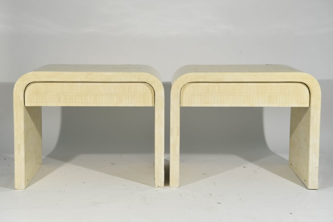 (2) KARL SPRINGER STYLE TESSELLATED NIGHSTANDS
