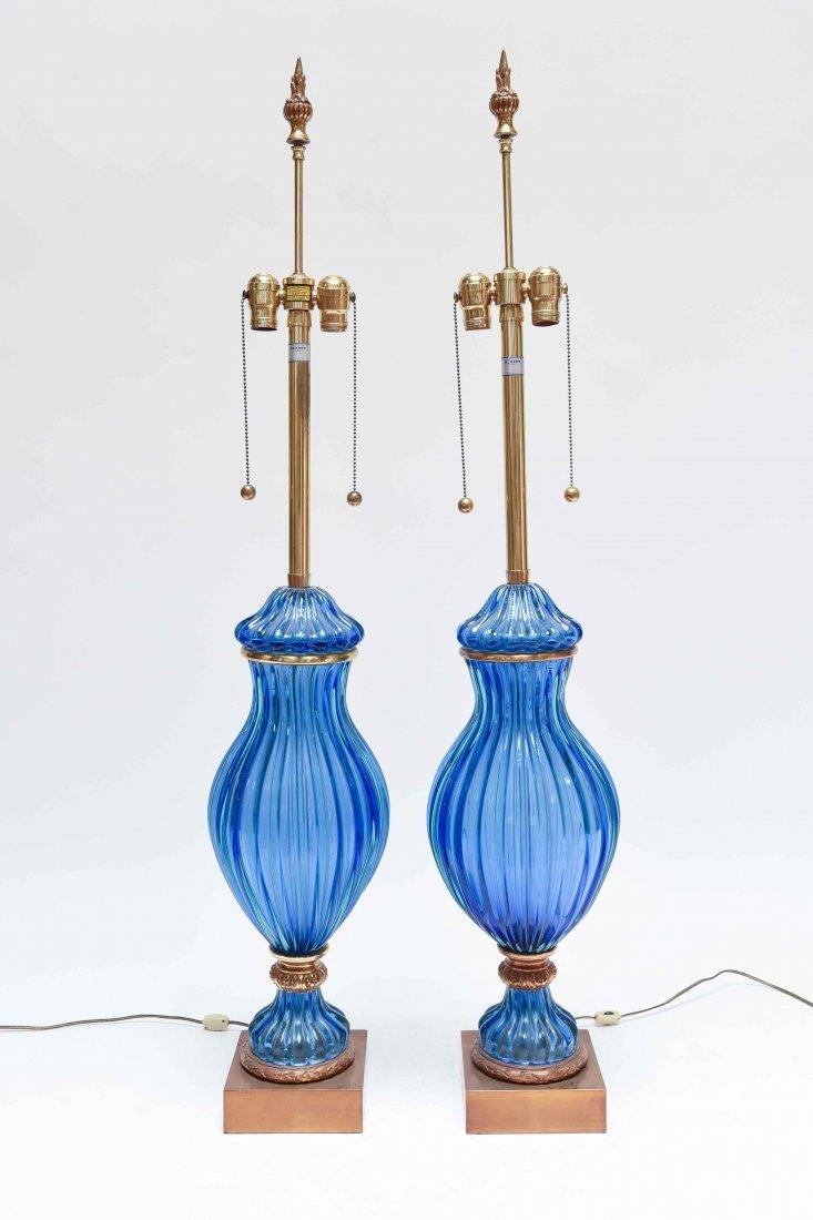(2) SEGUSO; MARBRO BLUE RIBBED MURANO LAMPS