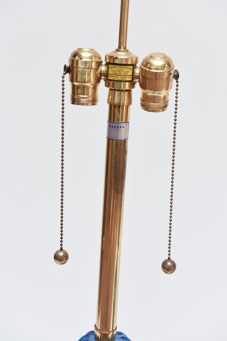 (2) SEGUSO; MARBRO BLUE RIBBED MURANO LAMPS - 3