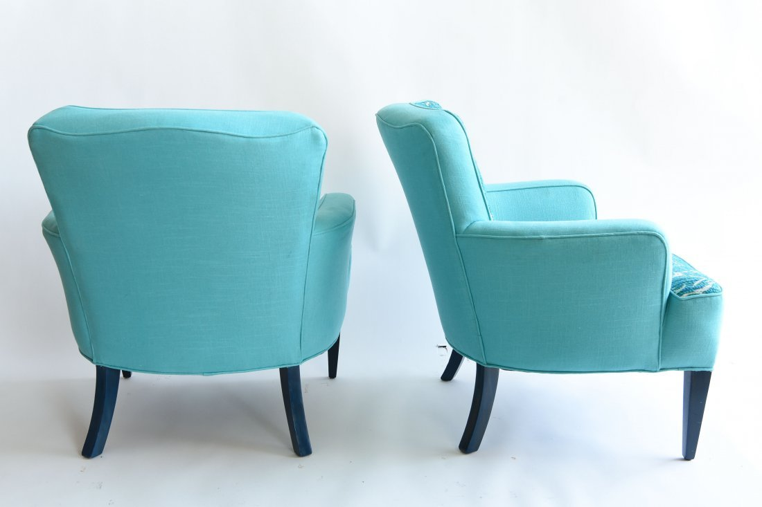 PAIR OF UPHOLSTERED ARM CHAIRS - 6