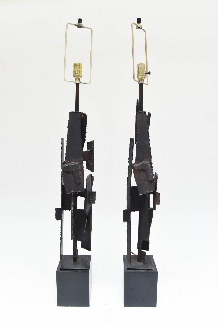 (2) HARRY BALMER; LAUREL CUT STEEL BRUTALIST LAMPS