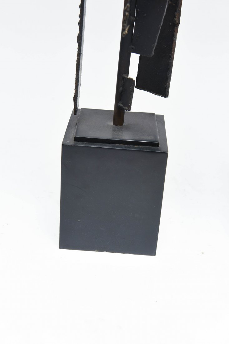 (2) HARRY BALMER; LAUREL CUT STEEL BRUTALIST LAMPS - 4