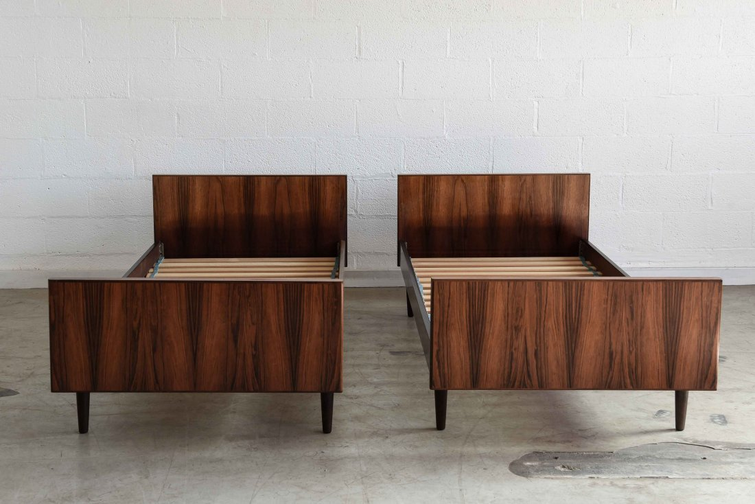 TWO SANNEMAN ROSEWOOD BEDS